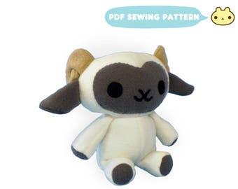 Plush Toy Lamb Pattern, Lamb Sewing Pattern, Stuffed Animal Pattern, Sheep PDF, Ram Toy Sewing PDF, Toy Sewing Pattern, Sheep Ram Toy PDF