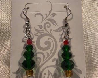 Beautiful Christmas tree bead earrings