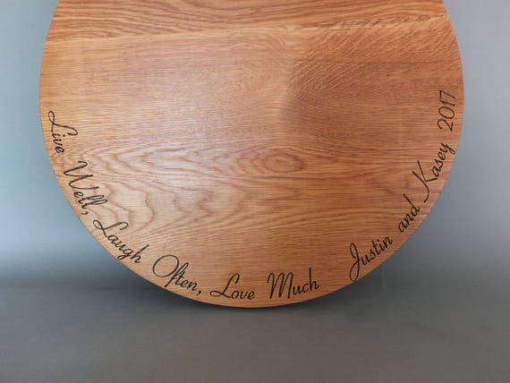 Live Well Laugh Often Love Much Engraved Cutting Board with Names and Wedding Date in Cherry, Walnut, Maple or White Oak. Wedding Cake Stand