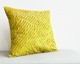 Green and Yellow , Textured & Frayed 3 Layer Poly Silk Cushion Cover , Textured Pillow Cover , Decorative Pillow, Throw Pillow