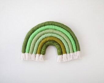 "Fiber Rainbow  ""Green Glow"" Wall Hanging"