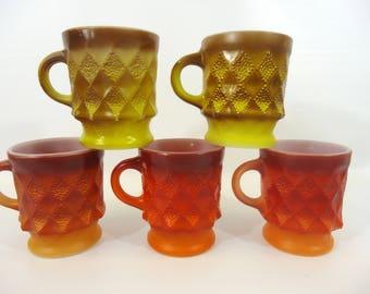 Vintage Orange and Brown Fire King Anchor Hocking Kimberly Mugs Set of Five