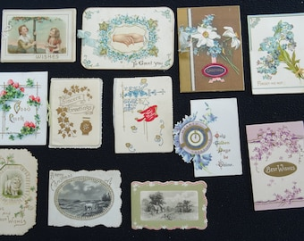12 x Antique Edwardian Pressed & Printed Christmas New Year Greeting Cards - c1910