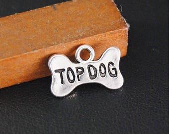 30pcs Antique Silver TOP DOG Charms Pendant A2126