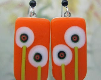 Orange Bitty Bloom Earrings, Fused Glass Jewelry from North Carolina