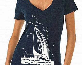 sailing gift - sailing shirt - sailing print - womens tshirts - nautical shirt - nautical gifts - beach shirt-SAILBOAT SILHOUETTE-deep vneck