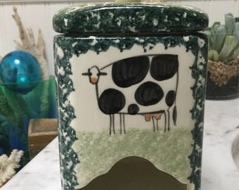 Cow speckled pottery kitchen match holder
