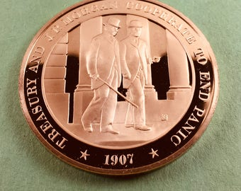 Franklin Mint Medal History Of United States Treasury And J.P.MorganCooperate To End Panic 1907, 44 mm Bronze Mint Condition<>#PSY-189