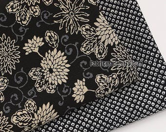 Japanese Kimono Fabric Vintage looking Large chrysanthemum Flower Spots On Black Crepe Fabric- 1/2 Yard