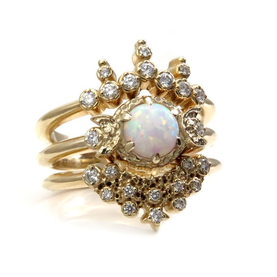 Lab Opal Moon and Star Engagement Ring Set - 14k Gold with Diamonds
