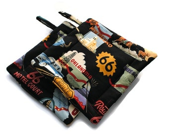 Quilted Pot Holders Route 66 set of 2 Black Potholders