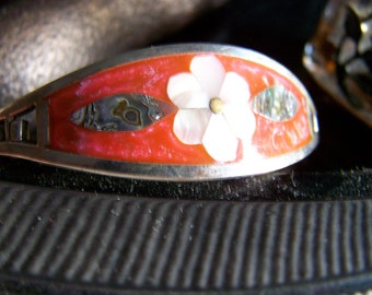 """Vintage 50's ALPACA SILVER BRACELET""""  Abalone Shell Fire Red Orange Enamel Inlay Daisy Design Made in Mexico"""
