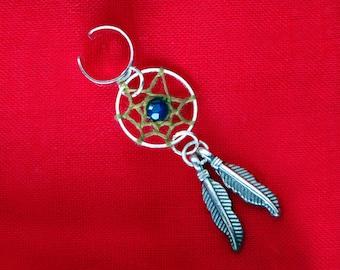 Navy agate ear cuff jacket, Tribal dreamcatcher earcuff, Ethnic dangle earring, Boho gemstone dream catcher, Native american indian jewelry