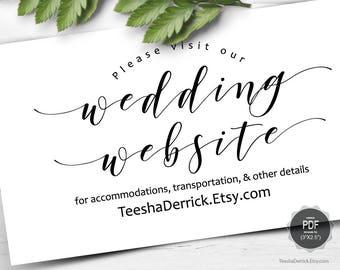 Wedding Website card template, Instant download PDF editable template, enclosure card, insert card, Kraft modern rustic design (TED449_6)