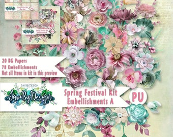 Digital Scrapbooking SPRING FESTIVAL kit packed full of beautiful, spring flowers and awesome greenery, branches, vines