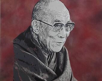 Dalai Lama Spray Paint on Canvas