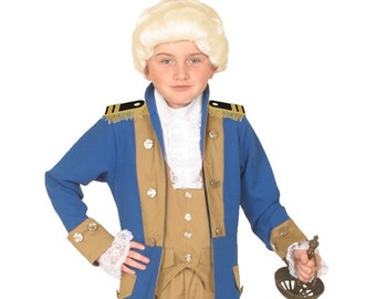 Children's Inspired George Washington Costume - Famous Presidents and Historical Figures Costumes - Kids Colonial Period Clothing