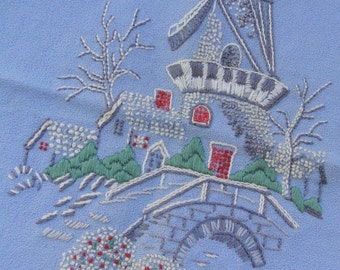 Vintage Completed Embroidery Windmill Bucilla FREE SHIPPING USA