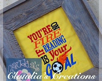 Soccer Subway Art Embroidery Saying, You're on Fire Saying, Soccer Reading Pillow Saying