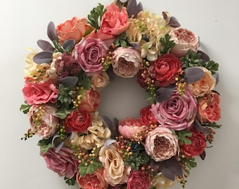 Pink Rose Wreath-Floral Wreath-Pink Cabbage Rose Wreath-Spring Summer Wreath-Pink Outdoor Wreath