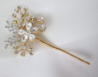 Bridal crystal hair pin, Wedding hair pin, Bridal pin in gold, silver or rose gold, Swarovski crystal hair pins, Bridal Swarovski pin