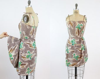 50s Hawaiian Dress XS / 1950s Cotton Sarong Beach Cover Up / Punaluu Beach Dress
