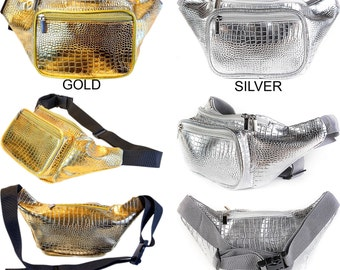 Fanny Pack Gold and Silver Reptile by SoJourner Bags