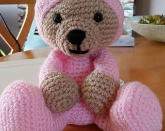 Handmade Crochet Gorgeous Little Pijama Bear