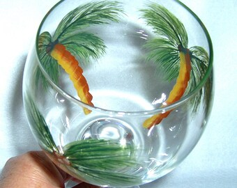 Palm Trees 20 oz Wine Glass Hand Painted