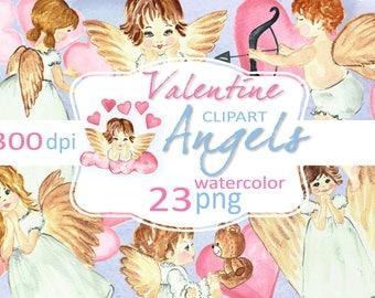 Valentine angels watercolor clip art. Watercolor angels. Pastel Valentine clipart. Angels Clip Art.