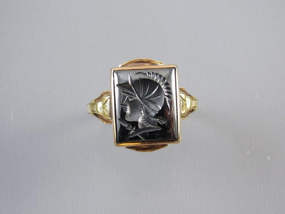 Vintage Art Deco hand carved hematite intaglio warrior 10k two tone yellow & green gold ring / size 8-3/4 / signed House of Kraus