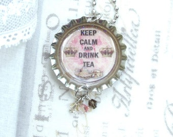 Keep Calm And Drink Tea Necklace Teacup Necklace Tea Lover Gift Bottle Cap Necklace Tea Party Necklace