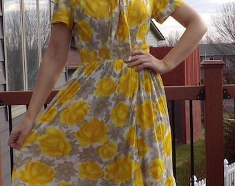 YELLOW ROSE SHIRTWAIST dress shirtdress 1960's 60's S (B2)