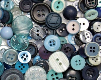 The Blue Button Assortment: A Variety Mix of 200 Vintage to Contemporary Buttons