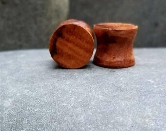 "Hawaiian Curly Koa Ear Plugs-Guages-Double Flare-2G-00G-1/2""-5/8"""
