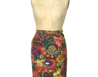 vintage 1960's patchwork pencil skirt / cotton / rainbow colorful / novelty print skirt / women's vintage skirt / size small