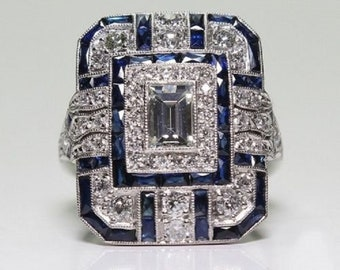 925 Silver white topaz with sapphire ring