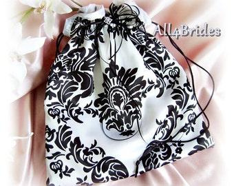 Damask weddings bridal drawstring bag.  Black and white wedding money dance bag.