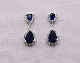 Sapphire Bridal Earrings, Bridal earring jewelry, cubic zirconia earrings , Blue Earrings, bridal jewelry, Kensley Sapphire Earrings