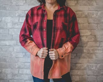 Medium red and black thick plaid flannel