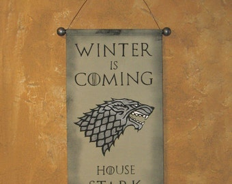 "Hand Painted  House Stark  ""Winter is Coming"" Canvas Banner - Game of Thrones - Name and Motto - Direwolf - Sigil - Wall Hanging - Cosplay"