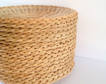 16 vintage Wicker Rattan Picnic Paper or Plastic Plate Holder Trays made in Hong Kong Shipping Included to CA and US & Wicker plate holder   Etsy