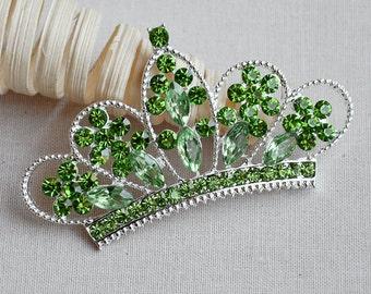 Rhinestone Button Embellishment Lime Green Crystal TIARA CROWN Bridal Wedding Brooch Bouquet Invitation Baby Headband BT554 BT