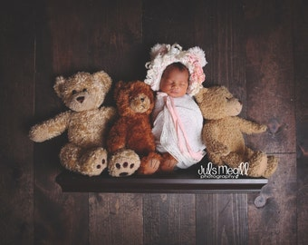 Serena Bear Bonnet, bonnet, baby bonnet, photo prop, photography, girl, girl bonnet, sitter bonnet, photography, cake smash