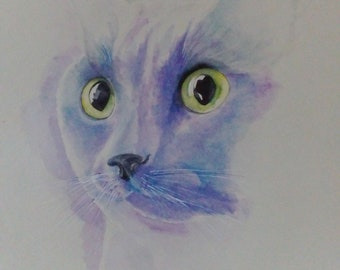 Watercolor painting of cat in blue