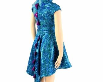 Cap Sleeve Hooded Skater Dress Dragon Tail Hemline Girls Size 2T-12 Turquoise Shattered Glass Fuchsia Spikes & Gold Sparkly HoodLiner 154149