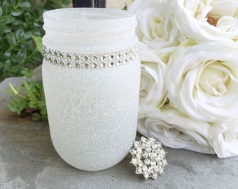 Diamond Dust Glitter Painted Pint Mason Jar, Rhinestone Bling Decor, Wedding centerpiece, New Years party decor, Baby Shower, Winter Wonderl