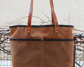 Waxed Canvas Tote Bag - FREE Standard Shipping in US - Bridle Leather Handles - Copper Rivets - Unisex - Made in USA