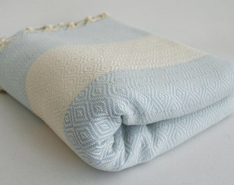 SALE 30 OFF/ Diamond Blanket / Ice Blue / Twin XL / Bedcover, Beach blanket, Sofa throw, Traditional, Tablecloth