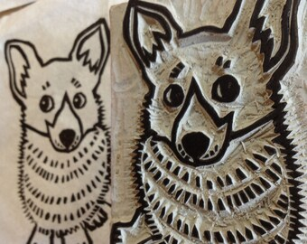 "Corgi Stamp - hand carved linoleum block 2"" x 3""- Made to Order"